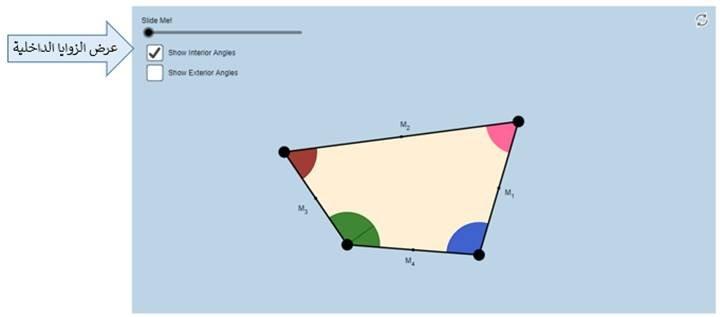 Quadrilateral Angle Theorem نظرية زوايا الشكل الرباعي اضغط هنا لمشاهدة البرمجية الفئة المستهدفة طلاب وطالبات الصف الأول متوسط في الفصل الدراسي الثاني هدف البرمجية التعرف على مجموع قياسات زوايا الشكل ارباعي واجهة البرمجية عند النقر على رابط البرمجية
